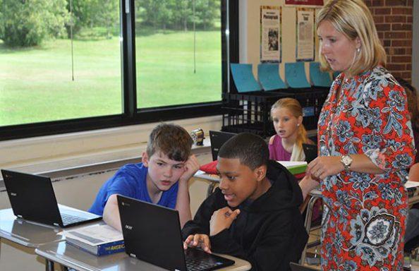 CMS Boys with Teacher with Chromebooks
