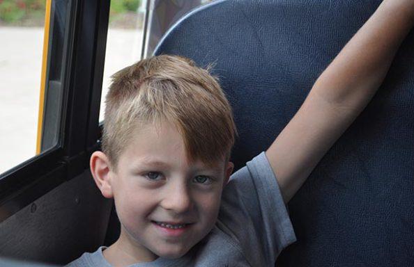East Hill Boy on School Bus