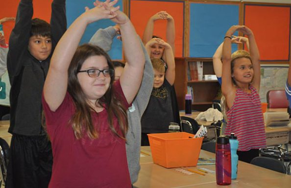 East Hill Older Students Exercising