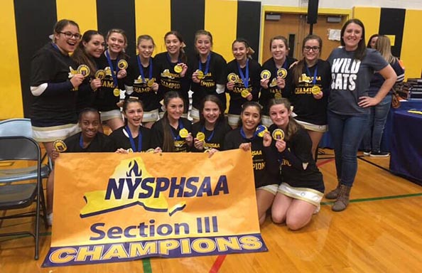 Girls Cheerleaders Section 3 Champs with Banner