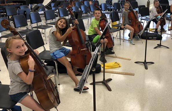 Summer Elementary String Students with Cellos