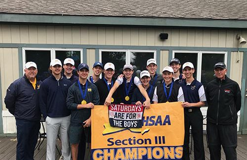 Boys Golf Team 2018 Section III Champions w Banner