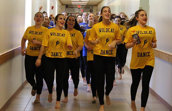 Girls Dance Team in Hallway