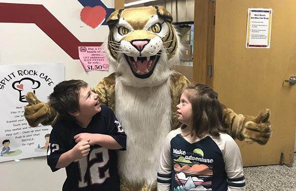 Split Rock Students with Wildcat