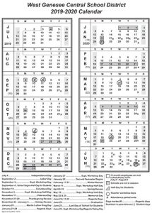 District Calendar 2019-2020 Image for News
