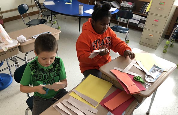 East Hill Boys Working on Fractions
