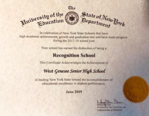 Recognition Certificate for WGHS