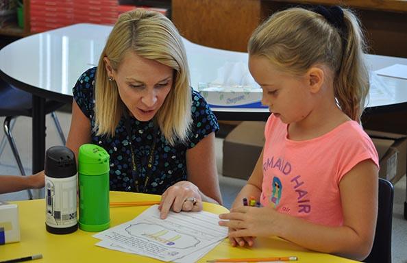 EH First Week Girl and Teacher