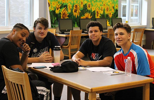 WGHS First Week Group of Boys in Library