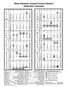Image of AMENDED District Calendar for 2020-2021
