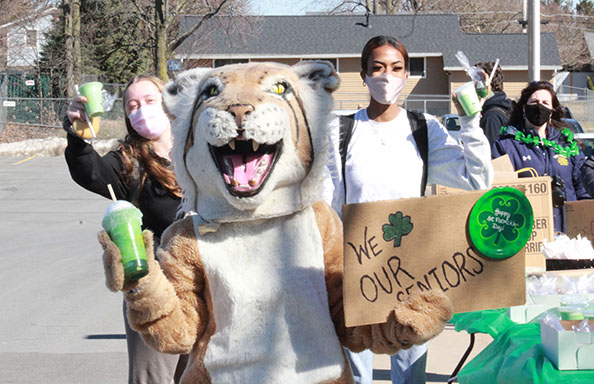 Seniors Shamrock Shake Day Girls w Mascot